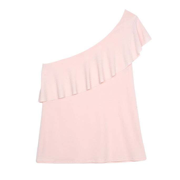小柄な One-Shoulder Ruffle Top