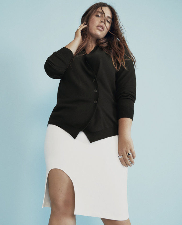 만능인 standard black cardigan and white skirt