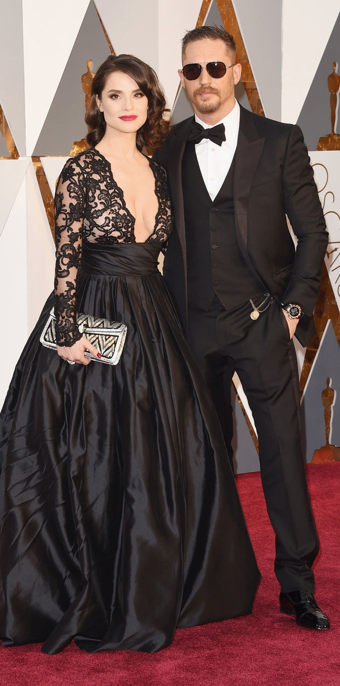 טום Hardy and wife Charlotte Riley - Oscars 2016