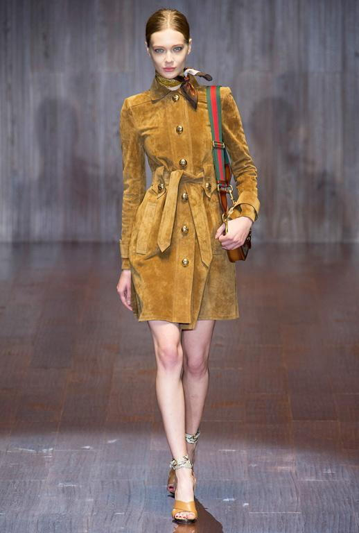 גוצ'י SS15 Suede Shirtdress