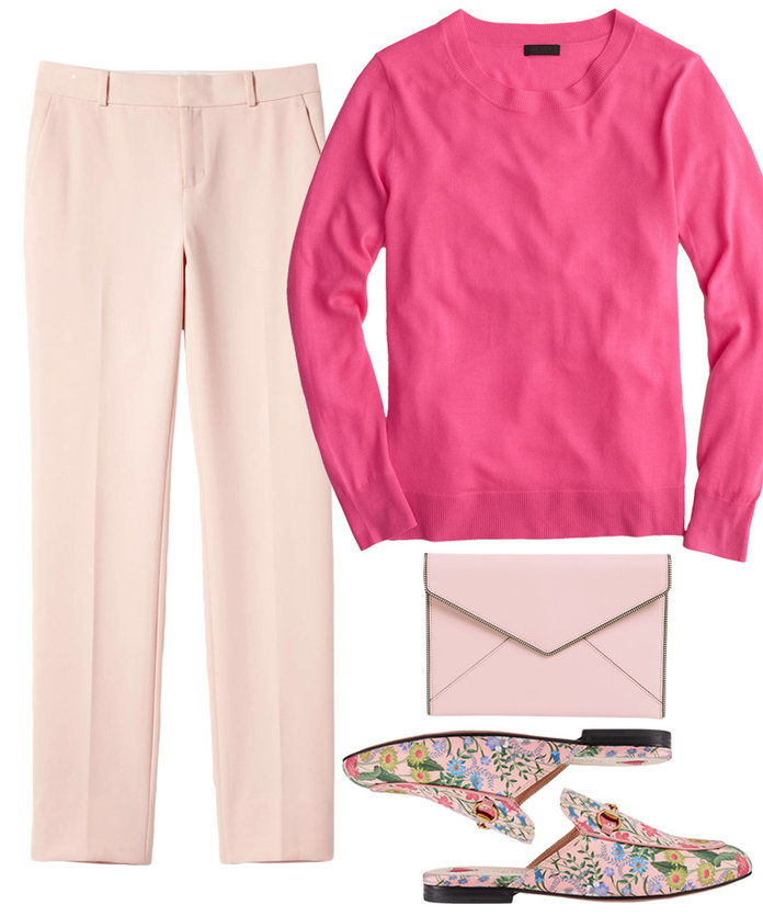에이 pink look suited for the office.