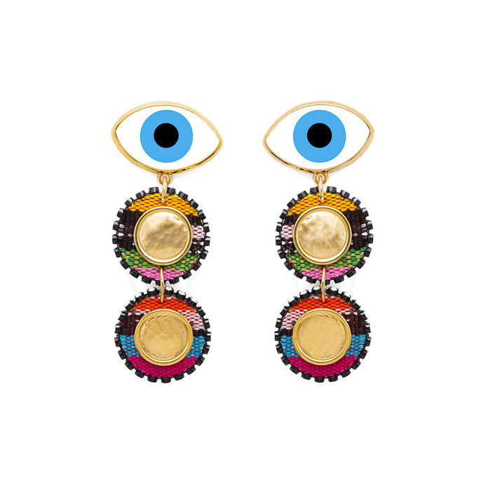 כחול Evil Eye Earrings