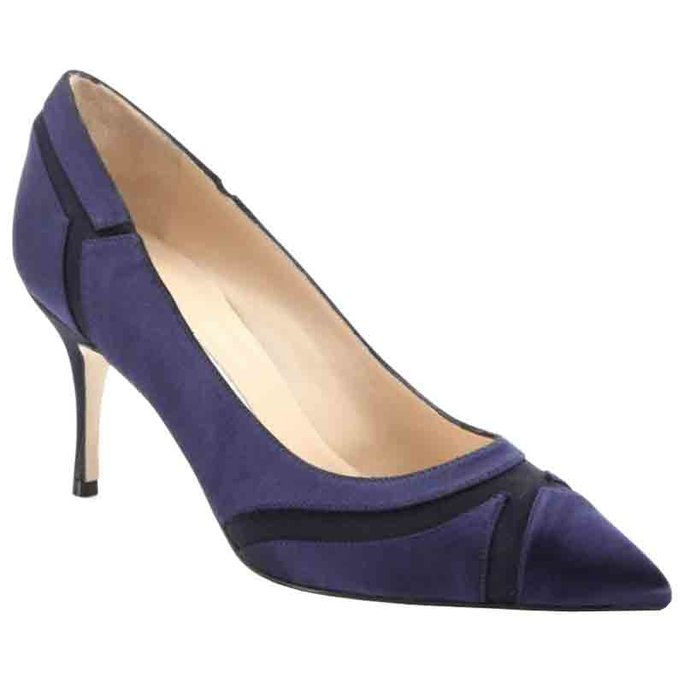 マノロ Blahnik Dastiora Satin Patchwork Point-Toe Pumps
