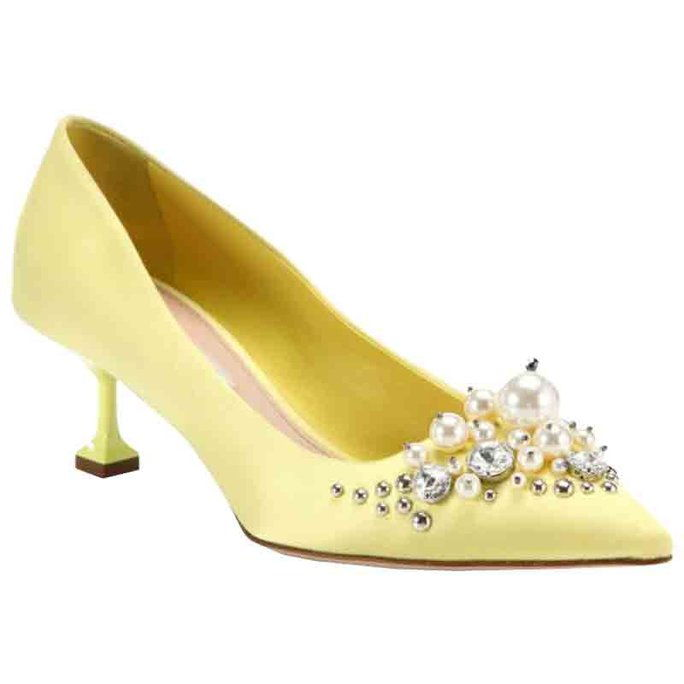 ミュウ Miu Embellished Satin Point-Toe Pumps