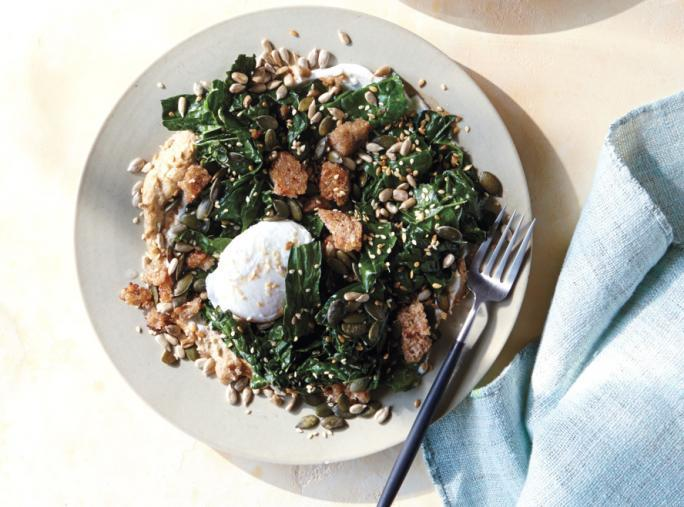 קיץ Salads - Poached Egg with Kale, Rye, Tahini, and Yogurt