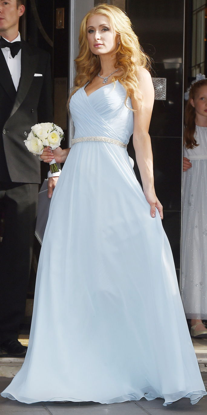 פריז Hilton as a bridesmaid at Nicky Hilton's wedding in London England
