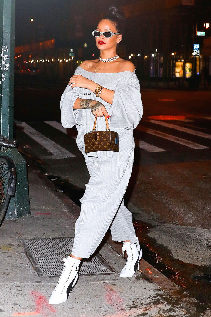 An off-the-shoulder sweatsuit is instantly sexy paired with stilettos.