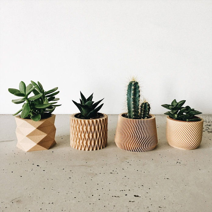 מינימום - Set of 4 Small Geometric Pots / Planters
