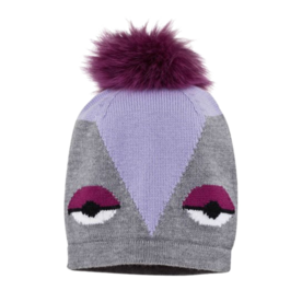 אפור and lilac cartoon beanie