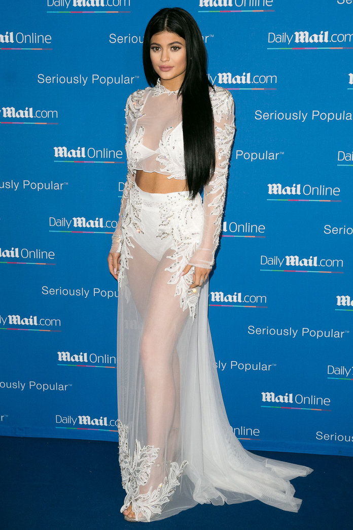 קיילי Jenner in a sheer maxiskirt and top