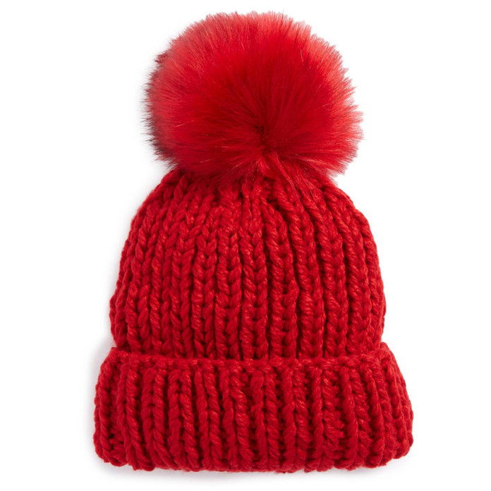 חופשי PEOPLE FAUX FUR POM BEANIE
