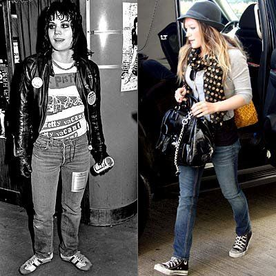 조안 Jett, Hilary Duff, Rocker Chick Chic, Runaways, Lizzie Maguire, celebrity style