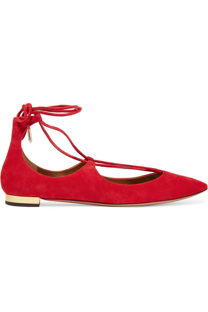 Aquazzura Christy suede point-toe flats