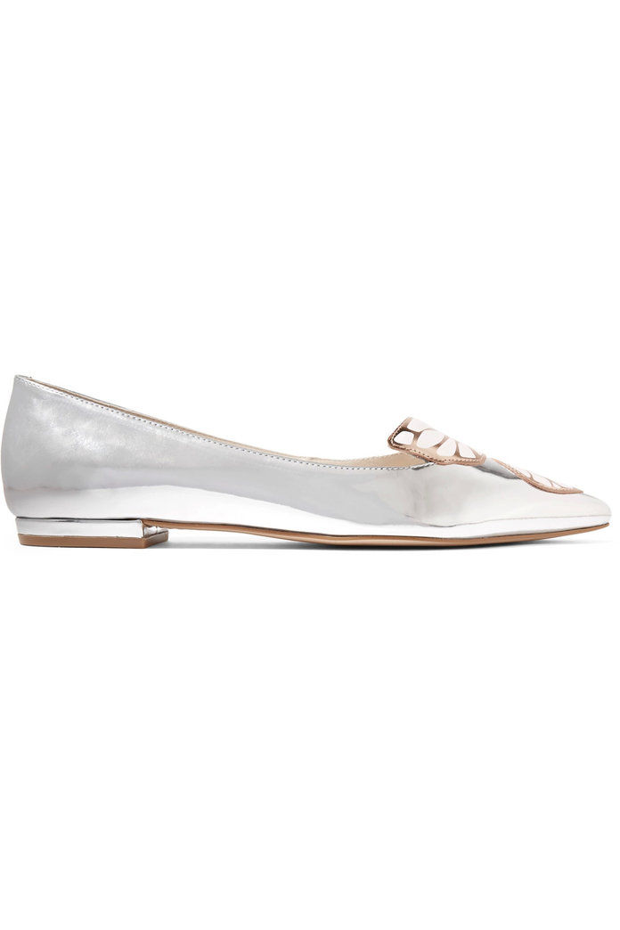 소피아 Webster Bibi Butterfly appliquéd metallic leather flats