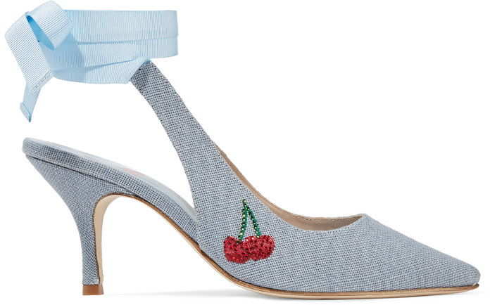 אדון by Man Repeller Kitten Heel Embellished Linen Pump