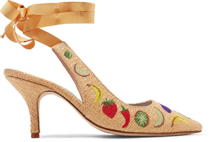 גור חתולים Heel Embroidered Raffia Pumps