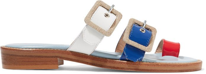 רצועות canvas-trimmed patent-leather sandals