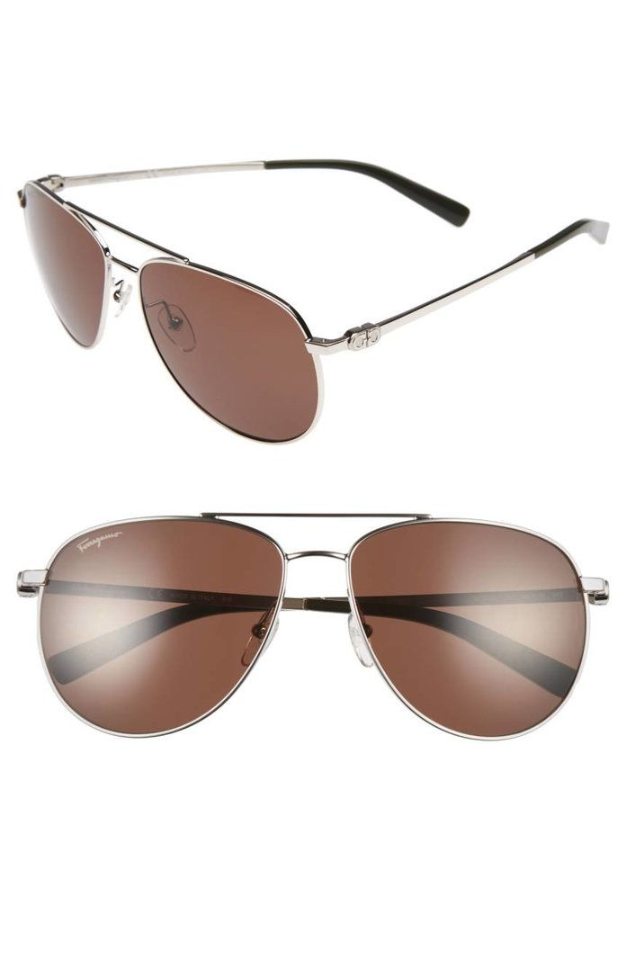 살바토레 Ferragmo Gancio 60mm Aviator Sunglasses