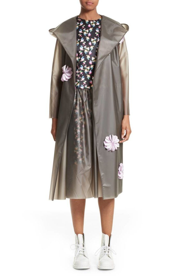 파스칼 Reflective Flower Trim Vinyl Raincoat