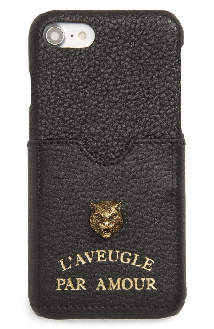 גוצ'י Tiger L'Aveugle Par Amour Leather iPhone 7 Case