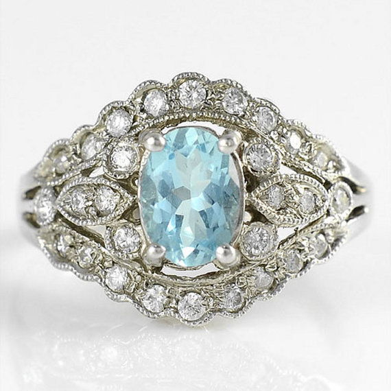 Solvang Antiques Vintage 1960s Aquamarine Ring