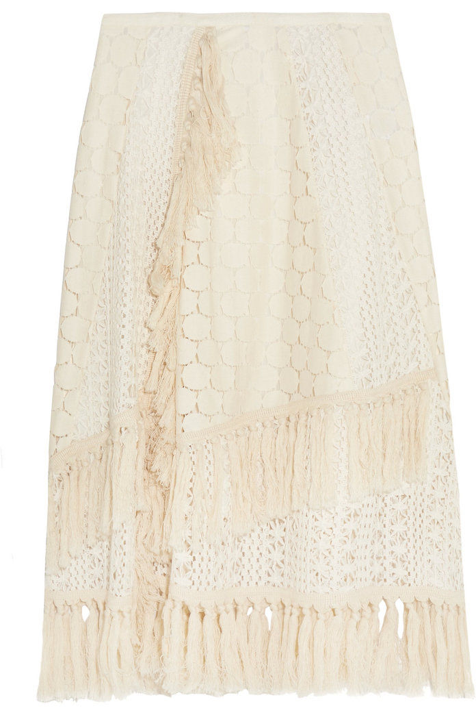 見る BY CHLOÉ Tasseled crocheted lace skirt