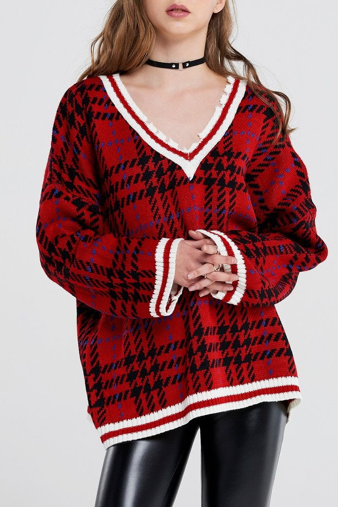 סטורטים Kate Tartan Check Distressed Pullover