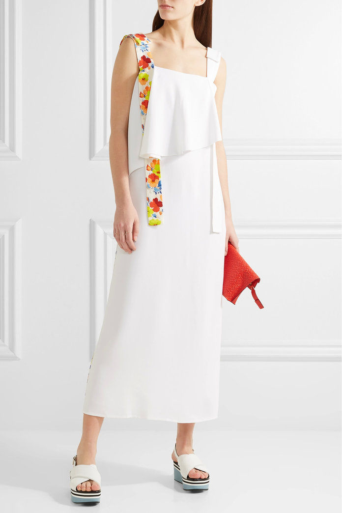 שכבות printed crepe midi dress