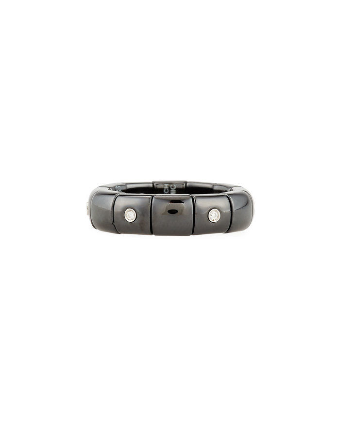 검은 Ceramic Band Ring with Diamonds